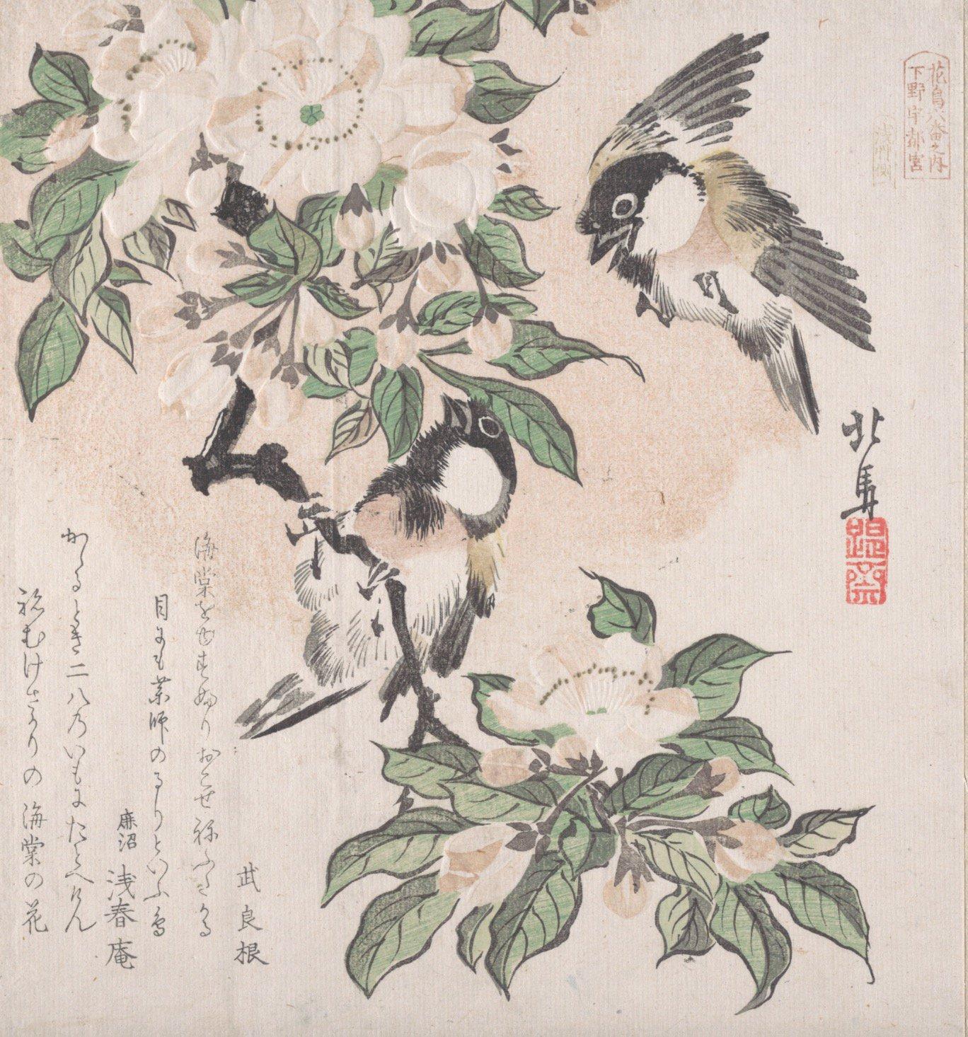 Hosai Hokuma - Marsh-tits and Aronia Flowers / Piţigoi suri și flori de aronia